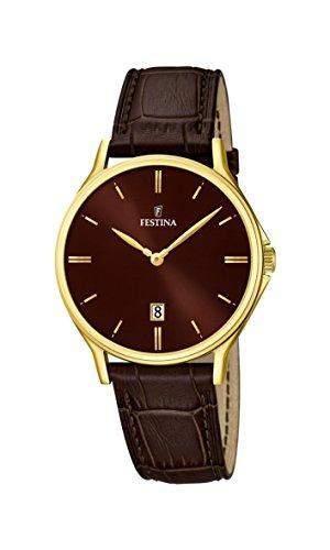 Festina Herren-Armbanduhr XL Analog Quarz Leder F167473