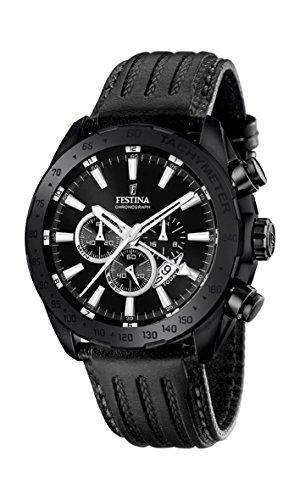 Festina Herren-Armbanduhr Black and Blue Analog Quarz Leder F169011