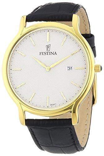 Festina Herren-Armbanduhr XL Klassik Analog Quarz Leder F68291
