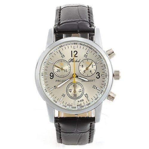 Herren Uhr Herrenuhr Armbanduhr Quarzwerk PU Leder Schwarz Quarzuhr Neu