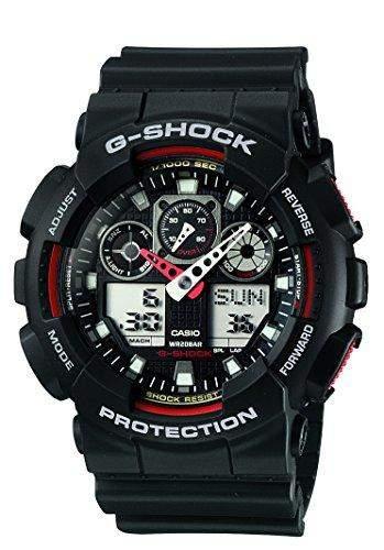 Casio GA100-1A4 G-Shock Herren Armbanduhr Dickt Ziffernblatt Robust Gehaeuse Analog
