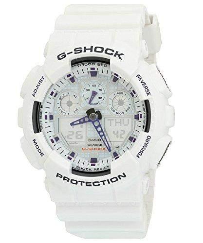 Casio GA100-7 Mens G-Shock Ana-Digi White Resin Alarm Dive Watch