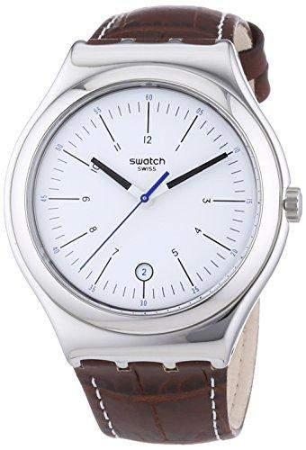 Swatch Herren-Armbanduhr XL Irony Big Classic Appia Analog Quarz Leder YWS401
