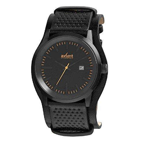Axcent of Scandinavia-IX45711-937-Lifetime-Armbanduhr-Quarz Analog-Zifferblatt schwarz Armband Leder schwarz