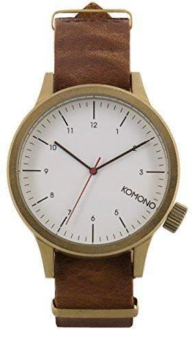 Komono Herren Armbanduhr Quarzuhrwerk Quarz-Uhr mit weissem Zifferblatt Analog-Anzeige und braunem Lederband kom-w1931