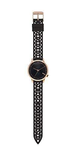 Komono Damen Quarzuhr mit schwarzem Zifferblatt Armbanduhr Quarzuhrwerk Analog Lederband Schwarz kom-w2651