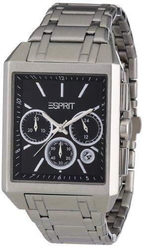 Esprit Herren-Armbanduhr Monterey Chrono Black Analog Quarz Leder