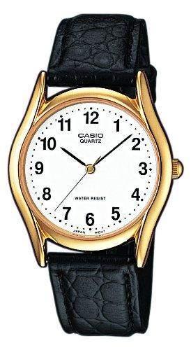 Casio-mtp-1154pq-7bef-Collection-Armbanduhr-Quarz Analog-Weisses Ziffernblatt-Armband Leder Schwarz