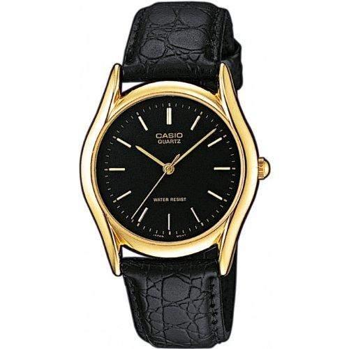 Casio Herren-Armbanduhr Casio MTP Analog Leder schwarz MTP-1154Q-1AEF