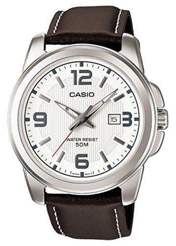 Casio Herren Armbanduhr mit weissem Zifferblatt Analog-Digital Display und braun Lederband mtp1314pl-7avef
