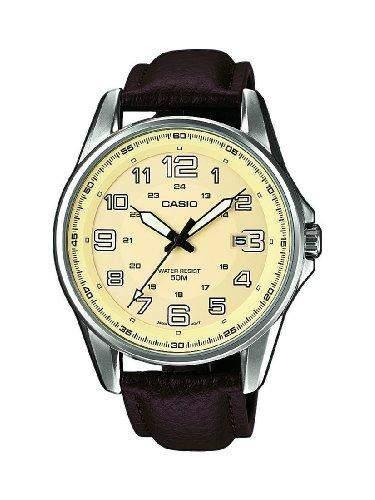 Casio Herren-Armbanduhr XL Casio Collection Analog Quarz Leder MTP-1372L-9BVEF