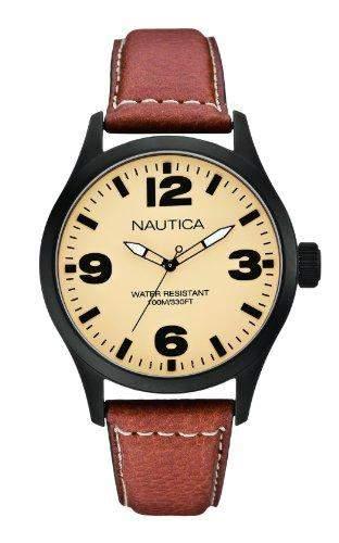 Nautica Herren-Armbanduhr XL Analog Quarz Leder A13616G