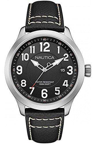 Nautica Herren 45mm Schwarz Leder Armband Edelstahl Gehaeuse Datum Uhr NAI10004G