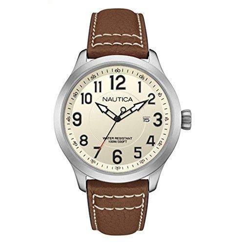Nautica Herren 45mm Braun Leder Armband Edelstahl Gehaeuse Datum Uhr NAI10005G