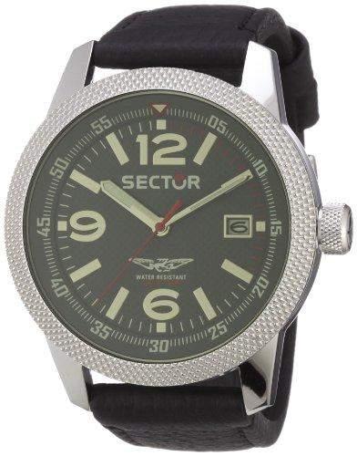 Sector Herren-Armbanduhr XL Overland Analog Leder R3251102001
