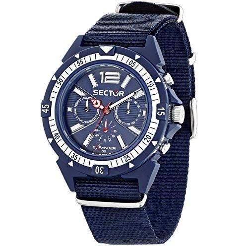 Sector Herren 44mm Chronograph Blau Stoff Armband Mineral Glas Uhr R3251197029