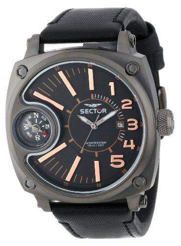 Sector Herren-Armbanduhr XL Compass Analog Quarz Nylon R3251207004
