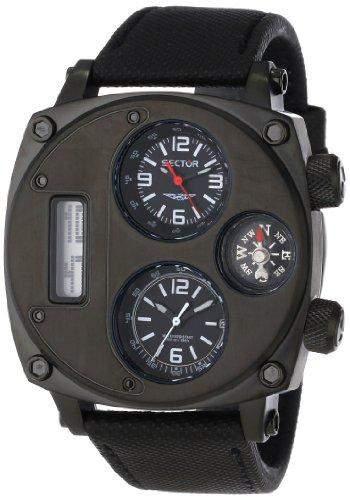 Sector Herren-Armbanduhr XL Compass Analog Quarz Nylon R3251207007