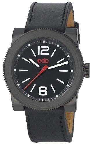Edc Herren-Armbanduhr XL retro spirit - raven black Analog Quarz Leder EE100781004