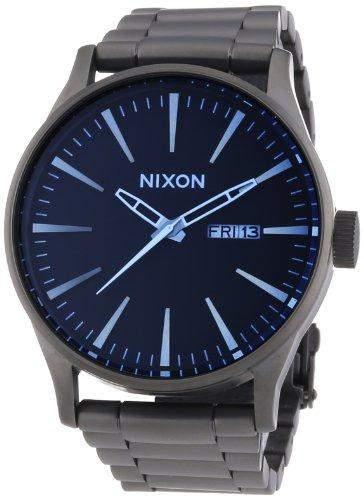 Nixon Herren-Armbanduhr XL Sentry SS Gunmetal  Blue Crystal Analog Quarz Edelstahl A3561427-00