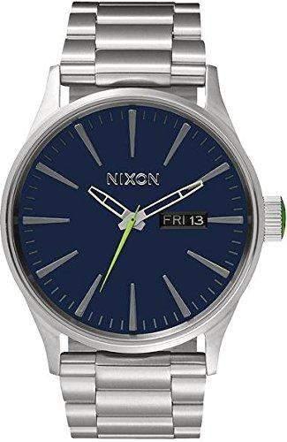Nixon Herren-Armbanduhr Sentry SS Midnight Blue  Volt Green Analog Quarz Edelstahl A3561981-00