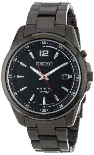 Seiko Mens SKA605 KINETIC Black Ion-Plated Stainless Steel Watch