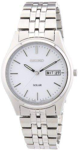 Seiko Herren-Armbanduhr XL Solar Analog Edelstahl SNE031P1
