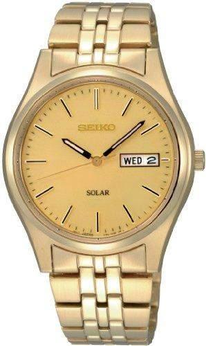 Seiko Herren-Armbanduhr XL Solar Analog Edelstahl beschichtet SNE036P1