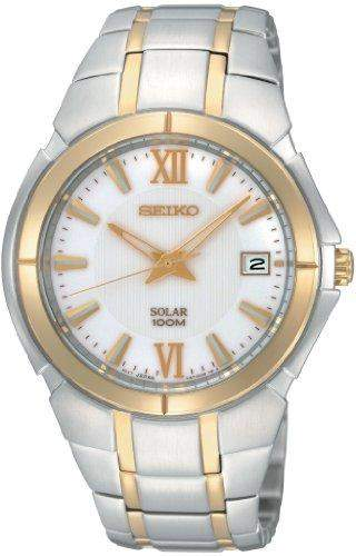 Seiko Herren-Armbanduhr XL Analog Quarz Edelstahl beschichtet SNE088P1