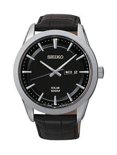 Seiko Herren-Armbanduhr XL Solar Analog Quarz Leder SNE363P2
