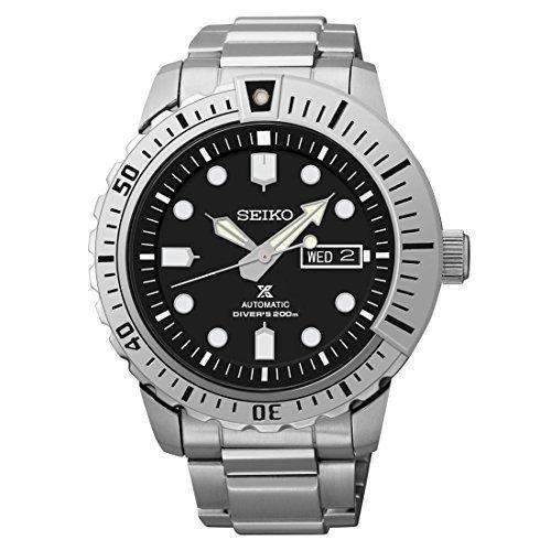 Seiko Prospex Herren Automatik Uhr aus Edelstahl, schwarzes Zifferblatt - SRP585K1