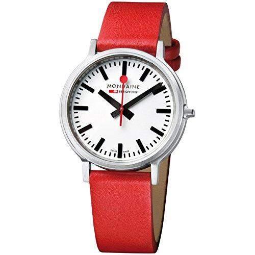 Mondaine Herren-Armbanduhr XL Stop2Go Analog Quarz Leder A5123035816SBC