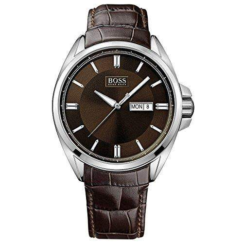 Hugo Boss Herren-Armbanduhr XL Analog Quarz Leder 1513037
