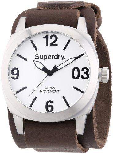 Superdry Herren-Armbanduhr XL Analog Quarz Leder SYG101TW