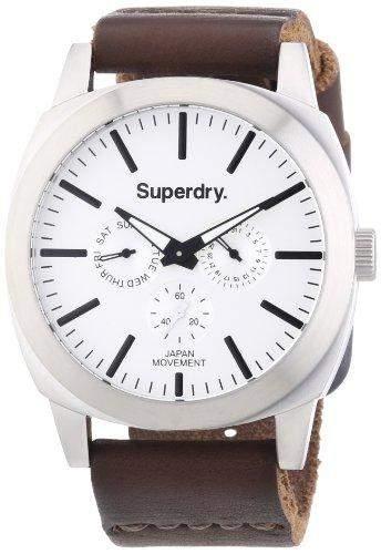 Superdry Herren-Armbanduhr XL Analog Quarz Leder SYG104T