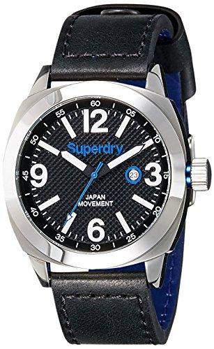 Superdry SYG144BB THOR SUPER LUXE Uhr Herrenuhr Lederarmband Edelstahl 50m Analog Datum schwarz