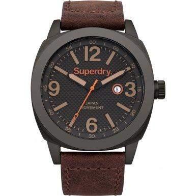 Superdry SYG144TB THOR SUPER LUXE Uhr Herrenuhr Lederarmband Edelstahl 50m Analog Datum braun schwarz
