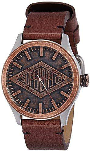 Superdry SYG177T COPPER LABEL Uhr Herrenuhr Lederarmband Edelstahl 100m Analog braun