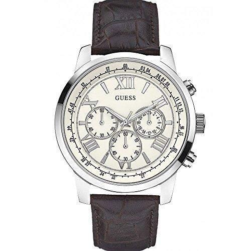 Guess Herren-Armbanduhr Analog Quarz Leder W0380G2