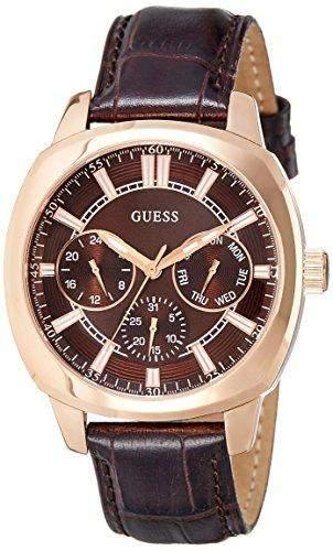 Guess Herren-Armbanduhr Analog Quarz Leder W0660G1