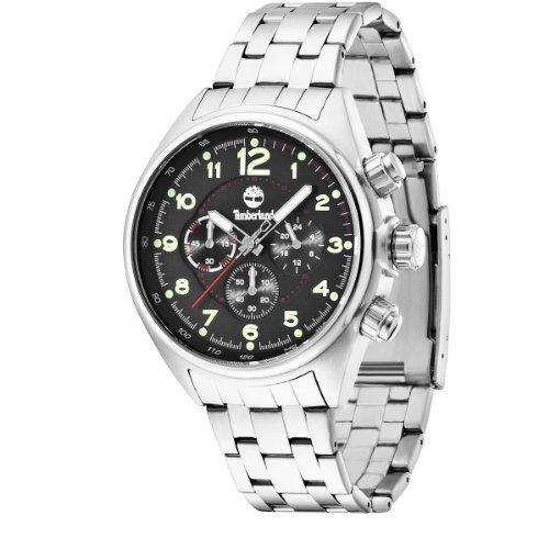 Timberland-TBL 13675js-02m-TARLETON-Armbanduhr-Quarz Analog-Zifferblatt schwarz Armband Stahl Silber
