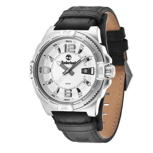 Timberland-TBL 14112js-04-Penacook-Armbanduhr-Quarz Analog-Zifferblatt Silber-Armband Leder Schwarz