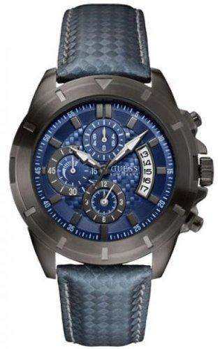 Guess Herren-Armbanduhr XL Analog Quarz Leder W18549G2