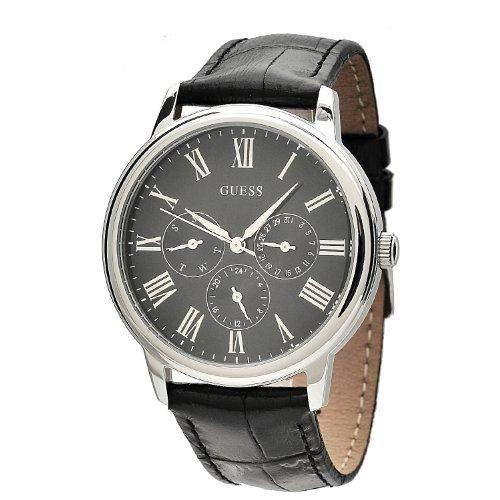Guess Herren-Armbanduhr Analog Quarz Leder W70016G1
