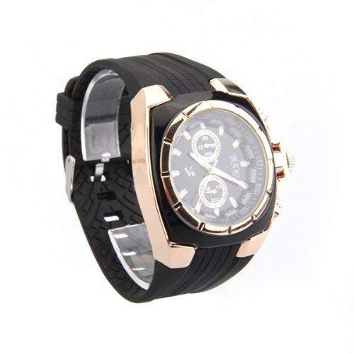 1x Gummi Quarzuhr Armbanduhren Armbanduhr Herren Damen Unisex Schwarz+Gold MODE