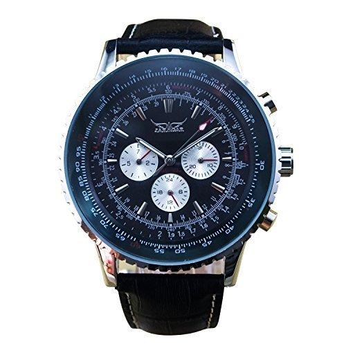 Gute Classic Herren Pro Automatische Mechanische Armbanduhr Luminous Schwarz Zifferblatt Tag Datum Tachymeter