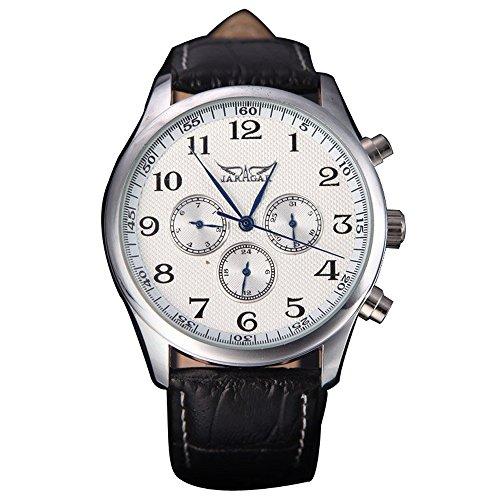 JARAGAR Automatische Uhr Mechanische Analoge weisses Zifferblatt 6 Handmaenner des Sport Armbanduhr 12 24 Stundenanzeige Weiss