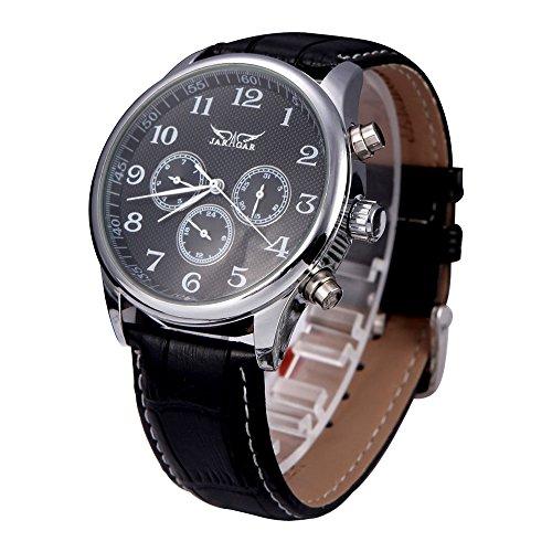 JARAGAR Automatische Uhr Mechanische Analoge schwarzes Zifferblatt 6 Handmaenner des Sport Armbanduhr 12 24 Stundenanzeige Schwarz