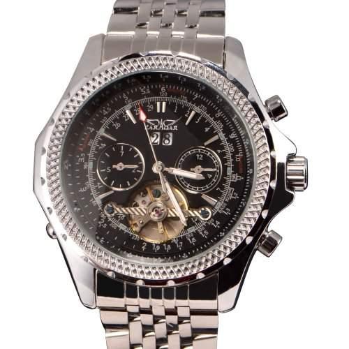 Luxus Mechanische Herren Automatik Automatikuhr Edelstahl Armband XL Schwarz DATUM Geschenk Etui