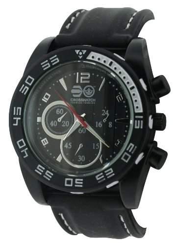 CROSSHATCH Herren-Armbanduhr Analog Silikon Schwarz CRS14A